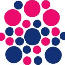 Set of 26 - BLUE / HOT PINK CIRCLES Vinyl Wall Graphic Decals Stickers shapes polka dots round