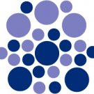 Set of 26 - BLUE / LAVENDER CIRCLES Vinyl Wall Graphic Decals Stickers shapes polka dots round