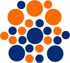 Set of 26 - BLUE / ORANGE CIRCLES Vinyl Wall Graphic Decals Stickers shapes polka dots round