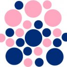 Set of 26 - BLUE / PINK CIRCLES Vinyl Wall Graphic Decals Stickers shapes polka dots round