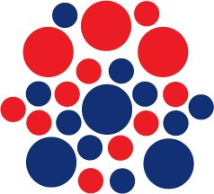 Set of 26 - BLUE / RED CIRCLES Vinyl Wall Graphic Decals Stickers shapes polka dots round