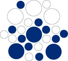 Set of 26 - BLUE / WHITE CIRCLES Vinyl Wall Graphic Decals Stickers shapes polka dots