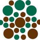 Set of 26 - BROWN / DARK GREEN CIRCLES Vinyl Wall Graphic Decals Stickers shapes polka dots