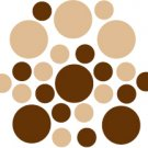 Set of 26 - BROWN / LIGHT BROWN CIRCLES Vinyl Wall Graphic Decals Stickers shapes polka dots