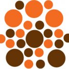 Set of 26 - BROWN / ORANGE CIRCLES Vinyl Wall Graphic Decals Stickers shapes polka dots
