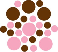 Set of 26 - BROWN / PINK CIRCLES Vinyl Wall Graphic Decals Stickers shapes polka dots