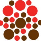 Set of 26 - BROWN / RED CIRCLES Vinyl Wall Graphic Decals Stickers shapes polka dots
