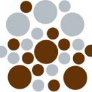Set of 26 - BROWN / SILVER METALLIC CIRCLES Vinyl Wall Graphic Decals Stickers shapes polka dots