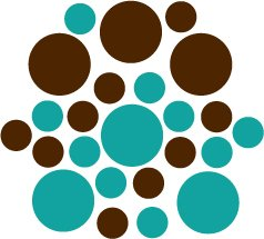 Set of 26 - BROWN / TURQUOISE CIRCLES Vinyl Wall Graphic Decals Stickers shapes polka dots