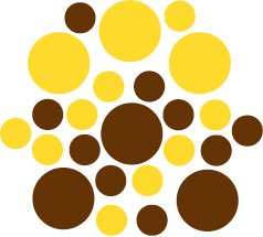 Set of 26 - BROWN / YELLOW CIRCLES Vinyl Wall Graphic Decals Stickers shapes polka dots