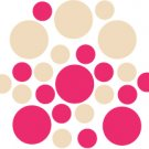 Set of 26 - HOT PINK / BEIGE CIRCLES Vinyl Wall Graphic Decals Stickers shapes polka dots
