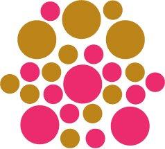 Set of 26 - HOT PINK / COPPER METALLIC CIRCLES Vinyl Wall Graphic Decals Stickers shapes polka dots