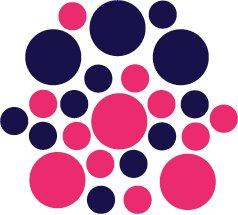 Set of 26 - HOT PINK / DARK BLUE CIRCLES Vinyl Wall Graphic Decals Stickers shapes polka dots