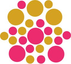 Set of 26 - HOT PINK / GOLD METALLIC CIRCLES Vinyl Wall Graphic Decals Stickers shapes polka dots