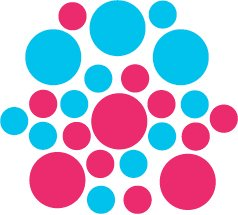 Set of 26 - HOT PINK / ICE BLUE CIRCLES Vinyl Wall Graphic Decals Stickers shapes polka dots