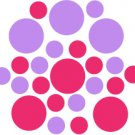 Set of 26 - HOT PINK / LAVENDER CIRCLES Vinyl Wall Graphic Decals Stickers shapes polka dots