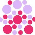 Set of 26 - HOT PINK / LILAC CIRCLES Vinyl Wall Graphic Decals Stickers shapes polka dots