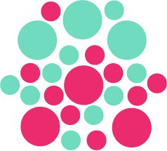 Set of 26 - HOT PINK / MINT CIRCLES Vinyl Wall Graphic Decals Stickers shapes polka dots