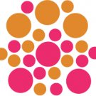 Set of 26 - HOT PINK / NUT BROWN CIRCLES Vinyl Wall Graphic Decals Stickers shapes polka dots