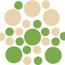 Set of 26 - LIME / BEIGE CIRCLES Vinyl Wall Graphic Decals Stickers shapes polka dots