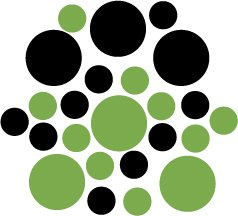 Set of 26 - LIME / BLACK CIRCLES Vinyl Wall Graphic Decals Stickers shapes polka dots