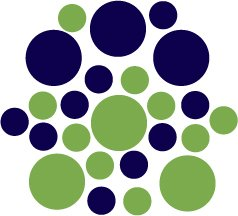 Set of 26 - LIME / DARK BLUE CIRCLES Vinyl Wall Graphic Decals Stickers shapes polka dots