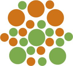 Set of 26 - LIME / NUT BROWN CIRCLES Vinyl Wall Graphic Decals Stickers shapes polka dots