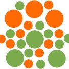 Set of 26 - LIME / ORANGE CIRCLES Vinyl Wall Graphic Decals Stickers shapes polka dots