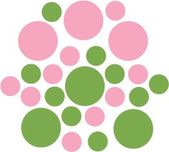 Set of 26 - LIME / PINK CIRCLES Vinyl Wall Graphic Decals Stickers shapes polka dots