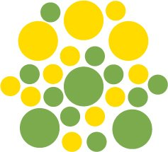 Set of 26 - LIME / YELLOW CIRCLES Vinyl Wall Graphic Decals Stickers shapes polka dots