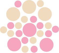 Set of 26 - PINK / BEIGE CIRCLES Vinyl Wall Graphic Decals Stickers shapes polka dots