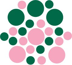 Set of 26 - PINK / DARK GREEN CIRCLES Vinyl Wall Graphic Decals Stickers shapes polka dots