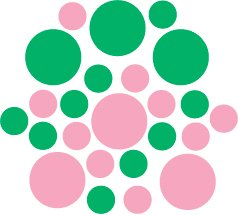 Set of 26 - PINK / GREEN CIRCLES Vinyl Wall Graphic Decals Stickers shapes polka dots
