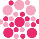 Set of 26 - PINK / HOT PINK CIRCLES Vinyl Wall Graphic Decals Stickers shapes polka dots