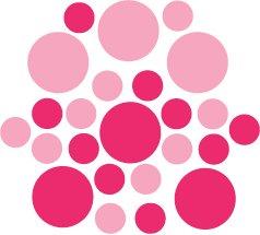 Set of 26 - PINK / HOT PINK CIRCLES Vinyl Wall Graphic Decals Stickers shapes polka dots