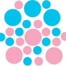 Set of 26 - PINK / ICE BLUE CIRCLES Vinyl Wall Graphic Decals Stickers shapes polka dots