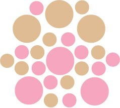 Set of 26 - PINK / LIGHT BROWN CIRCLES Vinyl Wall Graphic Decals Stickers shapes polka dots