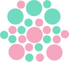Set of 26 - PINK / MINT CIRCLES Vinyl Wall Graphic Decals Stickers shapes polka dots