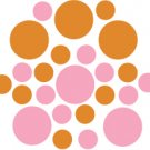 Set of 26 - PINK / NUT BROWN CIRCLES Vinyl Wall Graphic Decals Stickers shapes polka dots