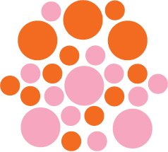 Set of 26 - PINK / ORANGE CIRCLES Vinyl Wall Graphic Decals Stickers shapes polka dots