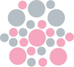Set of 26 - PINK / SILVER METALLIC CIRCLES Vinyl Wall Graphic Decals Stickers shapes polka dots