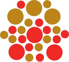 Set of 26 - RED / COPPER METALLIC CIRCLES Vinyl Wall Graphic Decals Stickers shapes polka dots