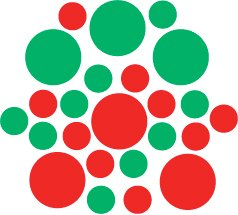 Set of 26 - RED / GREEN CIRCLES Vinyl Wall Graphic Decals Stickers shapes polka dots