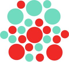 Set of 26 - RED / MINT CIRCLES Vinyl Wall Graphic Decals Stickers shapes polka dots