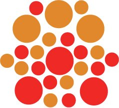 Set of 26 - RED / NUT BROWN CIRCLES Vinyl Wall Graphic Decals Stickers shapes polka dots