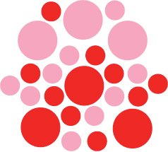 Set of 26 - RED / PINK CIRCLES Vinyl Wall Graphic Decals Stickers shapes polka dots