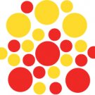 Set of 26 - RED / YELLOW CIRCLES Vinyl Wall Graphic Decals Stickers shapes polka dots
