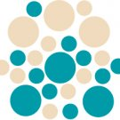 Set of 26 - TURQUOISE / BEIGE CIRCLES Vinyl Wall Graphic Decals Stickers shapes polka dots