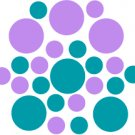 Set of 26 - TURQUOISE / LAVENDER CIRCLES Vinyl Wall Graphic Decals Stickers shapes polka dots