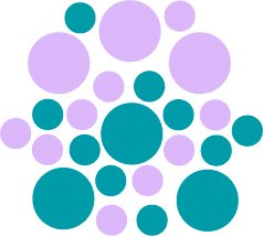 Set of 26 - TURQUOISE / LILAC CIRCLES Vinyl Wall Graphic Decals Stickers shapes polka dots